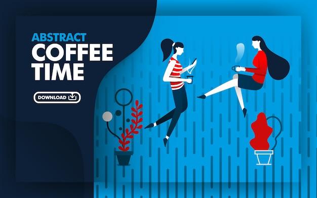 Ilustracja streszczenie czas kawy