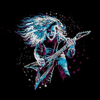 Ilustracja streszczenie gitarzysta rockowy