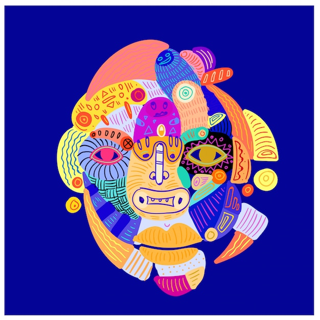 Ilustracja streszczenie kolorowe etniczne ozdoby głowy i twarzy.
