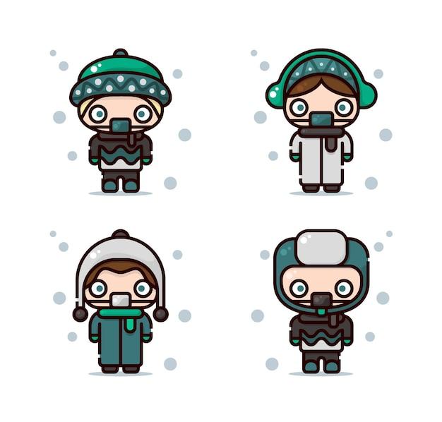 Ilustracja stroju zimowego, w tym czapka beanie, nauszniki, czapka narciarska i czapka trapera