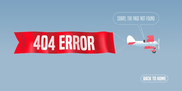 """Ilustracja strony błędu szablonu, baner z komunikatem """"nie znaleziono"""". retro dwupłatowiec z błędem tekst ostrzeżenia o błędzie dla elementu twórczego koncepcji błędu witryny"""