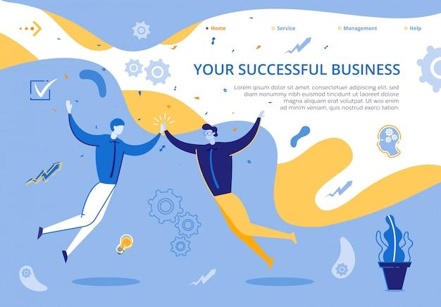 Ilustracja strony docelowej twój udany biznes