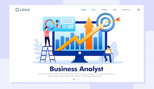 Ilustracja strony internetowej analityka biznesowego strony docelowej