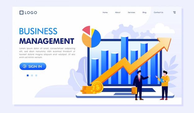 Ilustracja strony internetowej business management landing page
