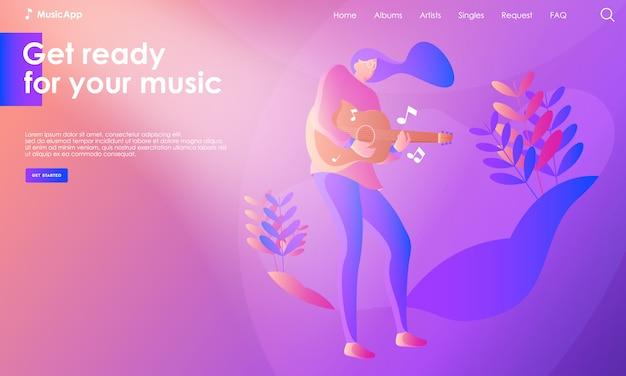 Ilustracja strony lądowania muzyki