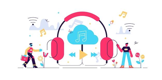 Ilustracja strumieniowego przesyłania muzyki.