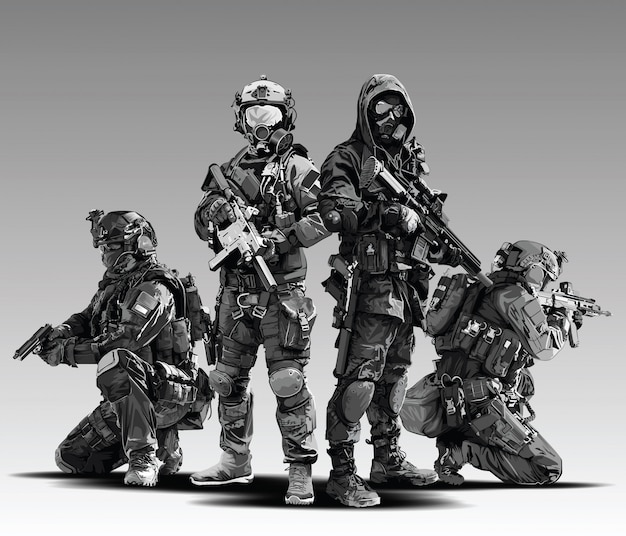 Ilustracja strzelać taktyczne policjanta. uzbrojone wojsko policyjne przygotowuje się do strzału z karabinu automatycznego.
