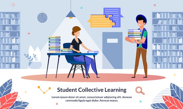 Ilustracja student collective learning