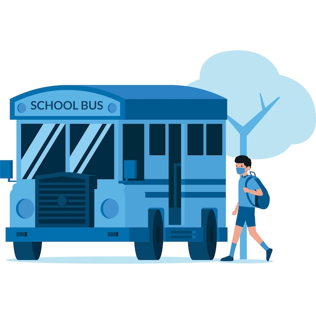 Ilustracja studenta wchodzącego do autobusu szkolnego