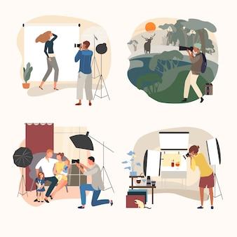 Ilustracja studio lub fotograf na zewnątrz, kreskówka dorosłych ludzi z aparatem robi zdjęcie, zestaw zdjęć na białym tle
