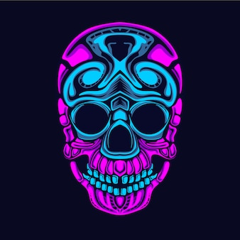 Ilustracja styl blask czaszki