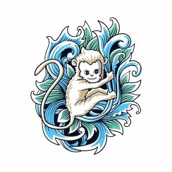 Ilustracja styl grawerowania biały małpa