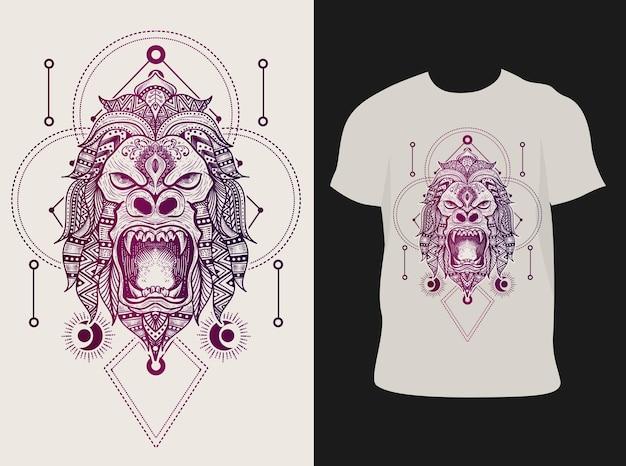 Ilustracja styl mandali głowa goryla z projektem koszulki