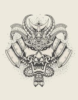 Ilustracja styl monochromatyczny głowy samuraja