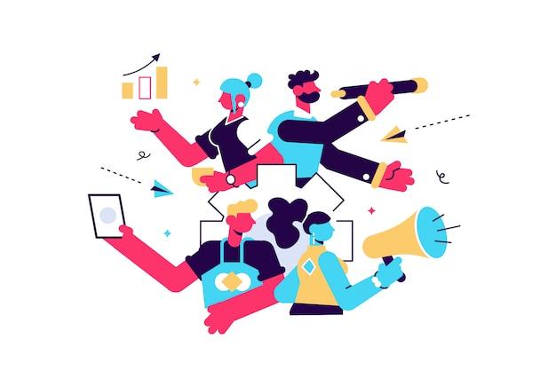 Ilustracja, styl, promocja biznesu, reklama, połączenie przez klakson, alarmowanie online.