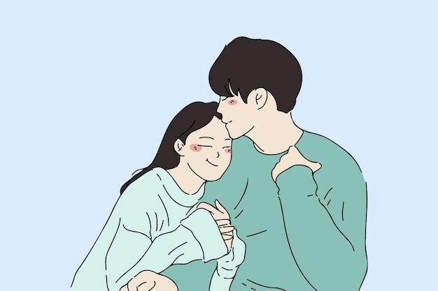Ilustracja styl rysowane ręcznie młodej pary obejmujących się nawzajem
