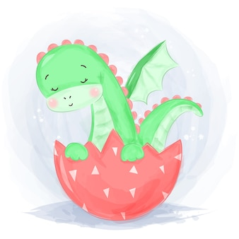 Ilustracja styl zielony dinozaur akwarela