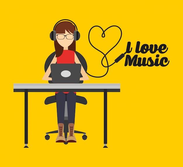 Ilustracja styl życia muzyki, kobieta słuchania muzyki na komputerze