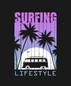 Ilustracja styl życia surfowania