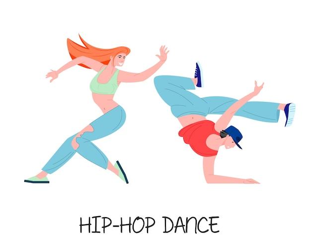 Ilustracja stylowa młoda para tancerzy hip-hopu
