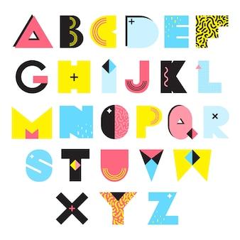 Ilustracja stylu alfabetu memphis