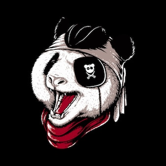 Ilustracja stylu pirata panda zwierząt