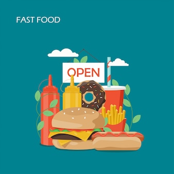Ilustracja stylu płaski fast food