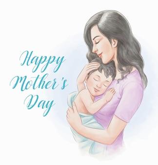 Ilustracja stylu przypominającym akwarele dzień matki
