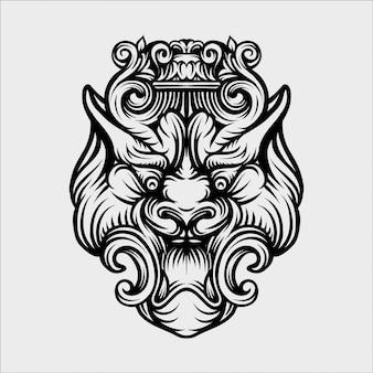 Ilustracja stylu vintage maska tygrys wyciągnąć rękę