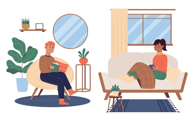 Ilustracja stylu życia hygge rysowane ręcznie