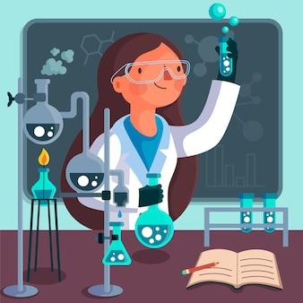 Ilustracja sukces naukowca kobiecego charakteru