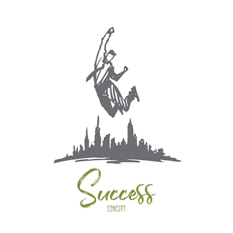 Ilustracja sukcesu w wyciągnąć rękę