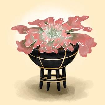 Ilustracja sukulen różowy neon breaker