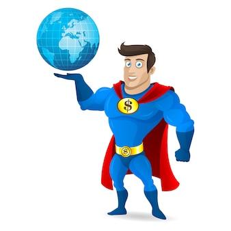 Ilustracja, superbohater trzyma planetę ziemię, format eps 10
