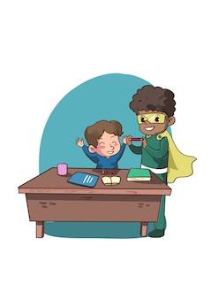 Ilustracja superbohatera dziecko pomaga w nauce
