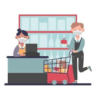Ilustracja supermarket koronawirusa