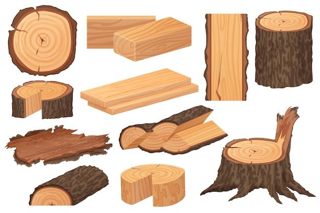 Ilustracja surowców przemysłu drzewnego