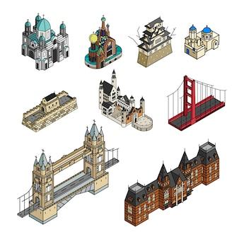 Ilustracja świat słynnego turystycznego punktu kolekcja