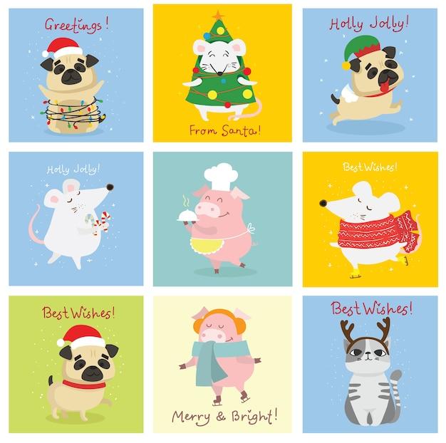 Ilustracja świątecznych kotów, świń, szczurów i psów z życzeniami bożonarodzeniowymi i noworocznymi. śliczne zwierzaki w świątecznych czapkach i prezentach.