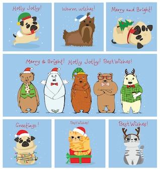 Ilustracja świątecznych kotów, świń, szczurów i psów z życzeniami bożonarodzeniowymi i noworocznymi.