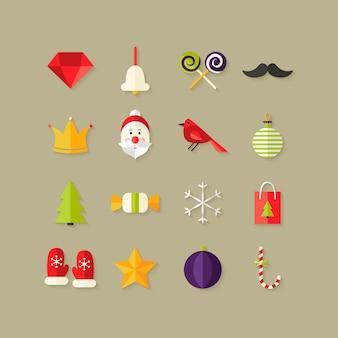 Ilustracja świątecznych płaskich ikon zestaw 1