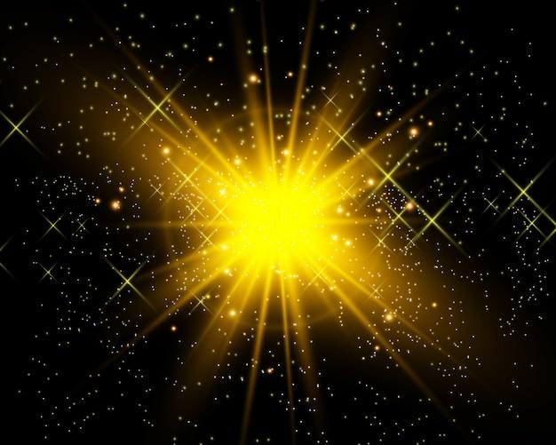 Ilustracja światła gwiazdy dla pięknego obrazu na przezroczystym tle, z odblaskiem i pięknym połyskiem