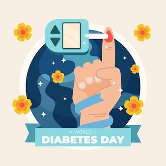 Ilustracja światowego dnia cukrzycy z badaniem palca