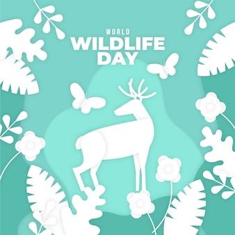 Ilustracja światowego dnia dzikiej przyrody w stylu papieru