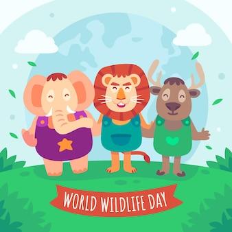 Ilustracja światowego dnia dzikiej przyrody ze zwierzętami