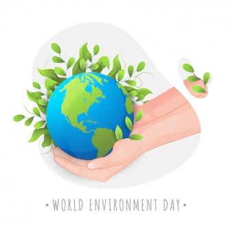 Ilustracja światowego dnia ochrony środowiska ludzką ręką, chroniącą matkę ziemię, pokrytą liśćmi.