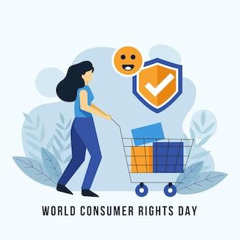 Ilustracja światowego dnia praw konsumenta z kobietą i koszykiem