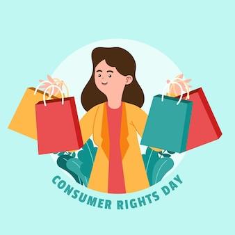 Ilustracja światowego dnia praw konsumenta z kobietą i torbami na zakupy