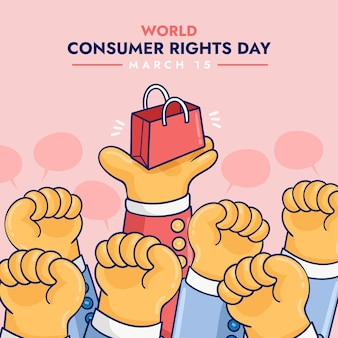 Ilustracja światowego dnia praw konsumenta z pięściami i torbą na zakupy