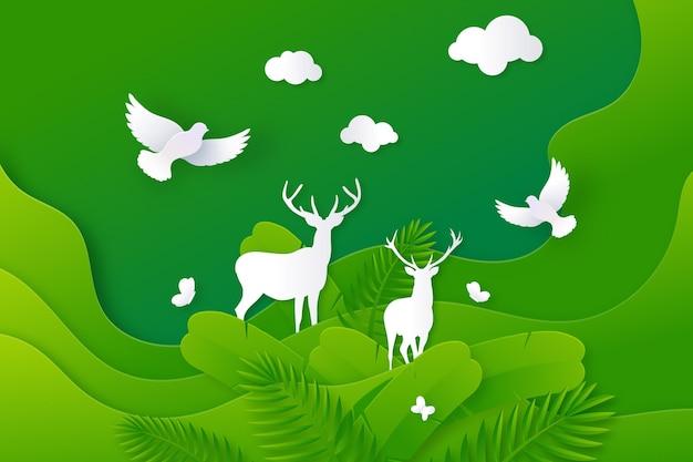 Ilustracja światowego dnia środowiska w stylu papieru